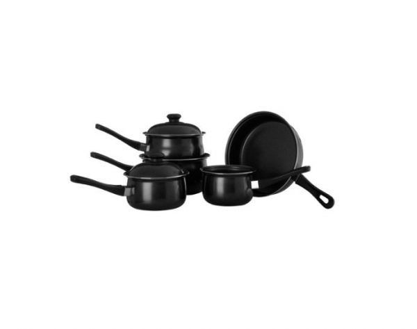 5 piece cookware set - black | Manor Interiors