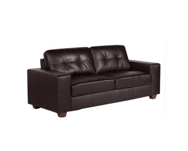 Aster 3 seater sofa - brown leather | Manor Interiors