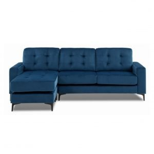 London Chaise corner sofa - blue velvet | Manor Interiors