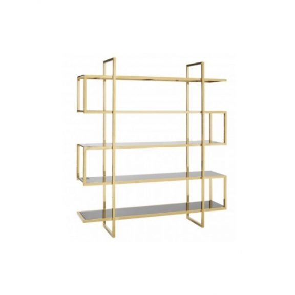 Maze shelf unit lateral - glass and gold   Manor Interiors