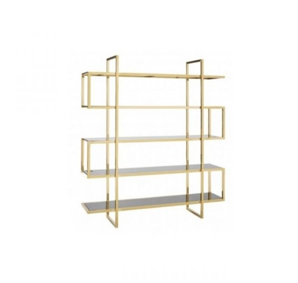 Maze shelf unit lateral - glass and gold | Manor Interiors