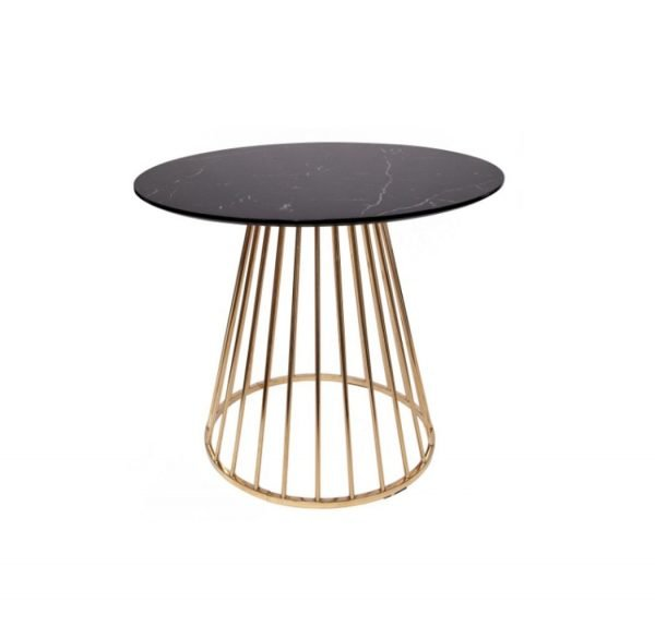 Plymouth dining table - black marble top, gold legs | Manor Interiors