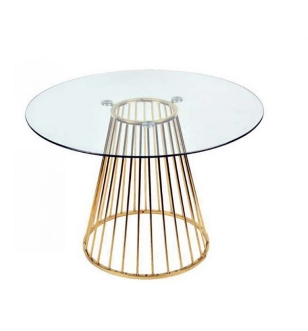 Plymouth dining table - glass top, gold legs | Manor Interiors