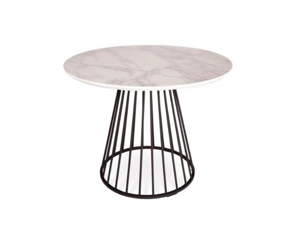 Plymouth dining table - white marble top, black legs | Manor Interiors
