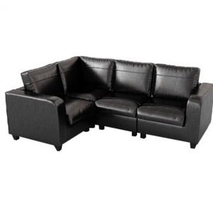 Simba Modular Sofa - black leather | Manor Interiors