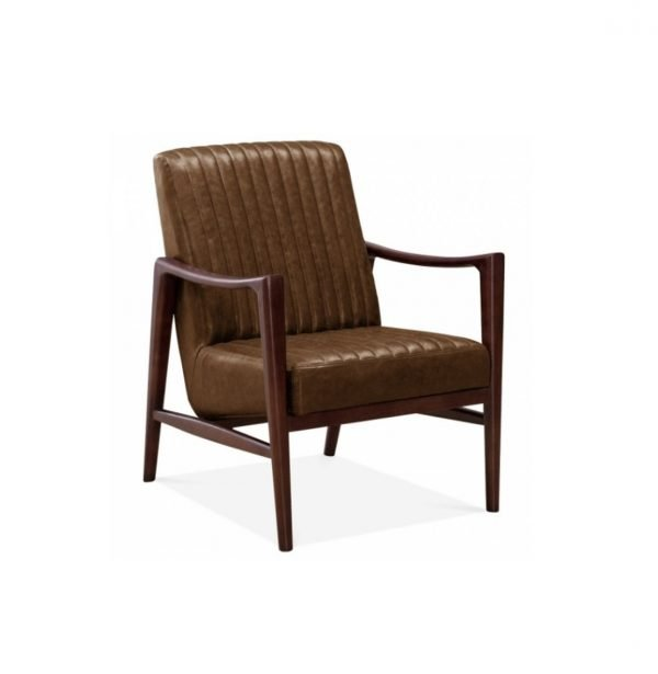 Thumb accent chair - tan leather | Manor Interiors