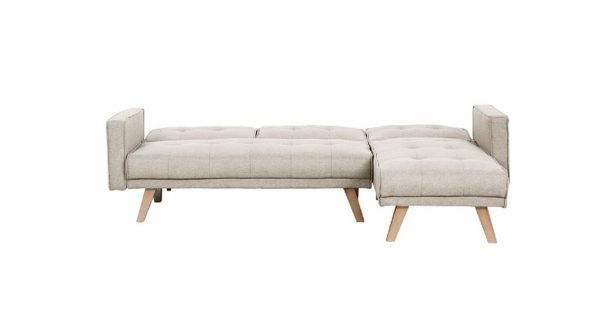 Tyson Sofa bed folded out - beige fabric   Manor Interiors