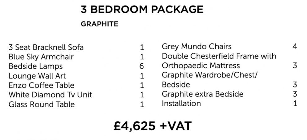 Graphite Furniture Package - three bedroom | Manor Interiors