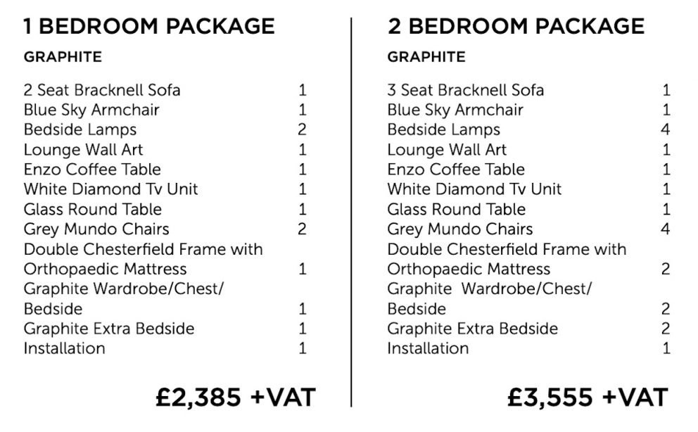 Graphite furniture package - one and two bedroom | Manor Interiors