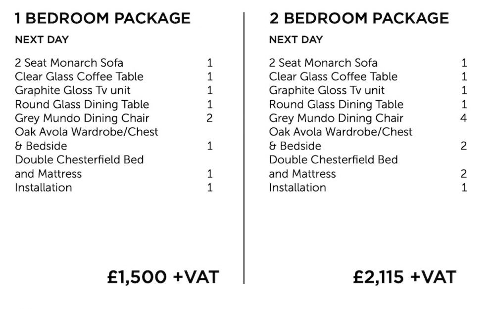 Next day furniture package - one and two bedroom list | Manor Interiors