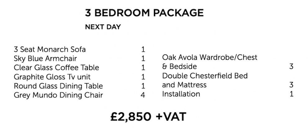 Next day furniture package - three bedroom | Manor Interiors