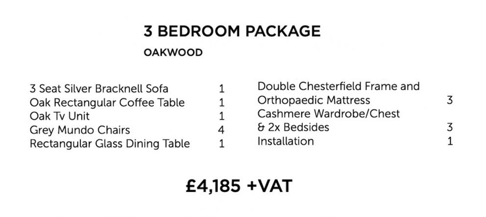 Oakwood Furniture Package - three bedroom | Manor Interiors