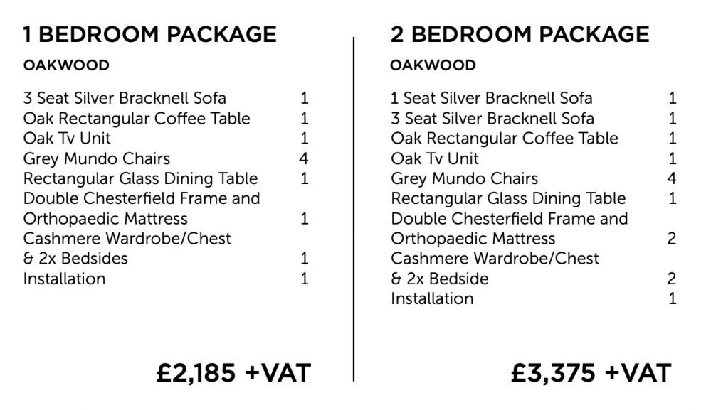 Oakwood furniture package - one and two bedroom | Manor Interiors