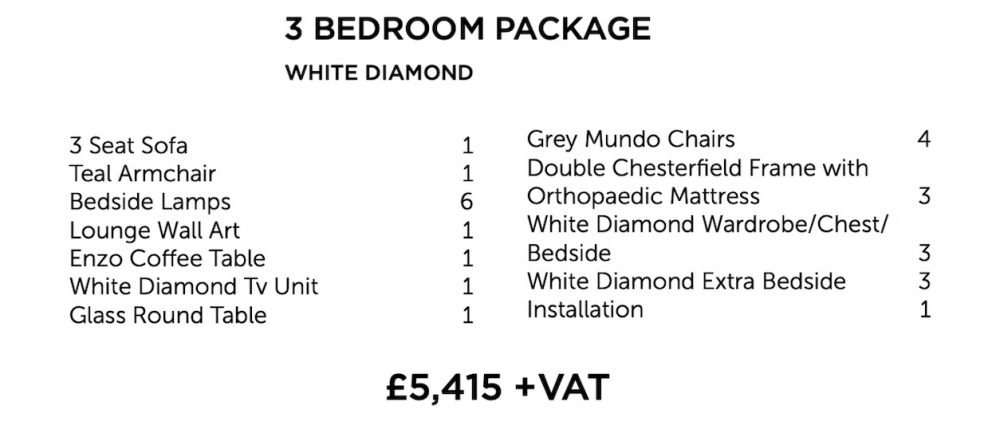 White Diamond Furniture Package - three bedroom | Manor Interiors