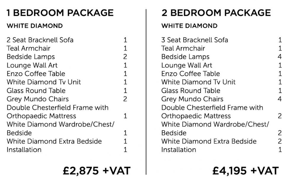 White Diamond furniture package - one and two bedroom | Manor Interiors
